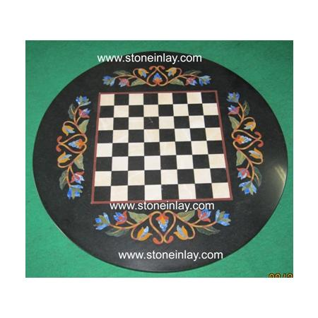 Marble Inlay Pietra Dura Chess Table Top